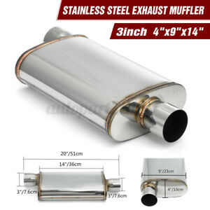 3'' 76mm In/Outlet 4x9x14'' Oval Stainless Steel Car Exhaust Muffler Universal