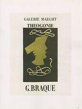 """1989 VINTAGE """"G. BRAQUE THEOGONIE"""" MOURLOT MINI POSTER COLOR Art Lithograph"""