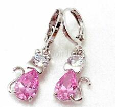 Women Girl Pink Cz Cubic Zirconia White Gold Plated Cat 3cm Hoop Dangle Earrings