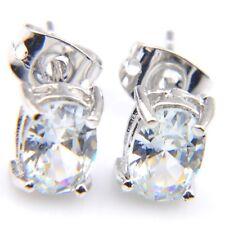 Oval Shaped Handmade White Fire Topaz Gemstone Silver Stud Hook Earrings