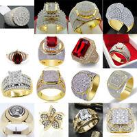 Vintage 18K Yellow Gold Filled Gemstone Women Men's Wedding Jewelry Ring SZ 6-10