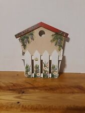Wood House with white picket fence Wall Pocket / Mail holder/ handpainted