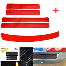 5Pcs Carbon Fiber Car Door Plate Sill Scuff Cover Anti Scratch Red Accessories