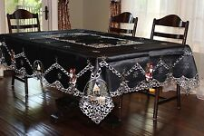 """72x124"""" Large Embroidered Santa Tablecloth  Black Table Topper Holiday Decor"""