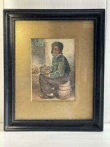 Antique Victorian 1853 Coloured Lithograph Print Of A Young Black Boy W H Hunt