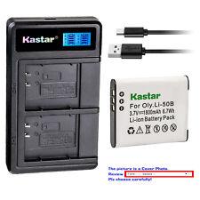 Kastar Battery LCD Dual Charger for Olympus Li-50B 50B & Tough TG-610 TG-615 iHS