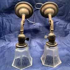 Early Antique Brass Wall Sconces Fixtures Etched Frosted Shades Rewired 12D