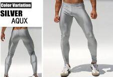 Mens Large Metallic Silver Compression Running Tights Training Activewear Gay UK