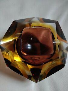 Aschenbecher Glas Multisfaccettato Vintage Zugeschrieben Flavio Poli Murano