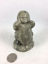Soapstone Carving Inuit & Seal Signed THORN 4""