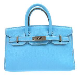 HERMES TINY BIRKIN 15 2way Mini Hand Bag purse Veau Epsom Blue aztec ☐O 62274