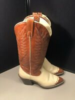 Vintage Women's Dan Post Brown Cream Western Leather Boots Size 6 1/2