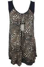 AUTOGRAPH Top - Textured/Animal Print Black Brown White Tank Stretch Knit - 20