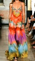 Emilio Pucci Embellished Tie Dye Long Maxi Sun Dress Runway Gown US 6 8 / IT 42