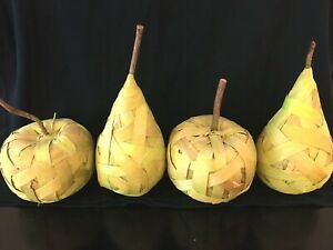 LARGE PIER 1 IMPORTS Light Green Wood Strip Fruit Pears Apples - TOTAL 4