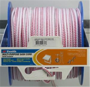 Cord Sash Multi Purpose 8mm bulk roll of 150 metres white/red colour