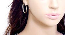 #E121F Pair CLIP ON Thick Tube Hoop EARRINGS look like pierced Spring Closure