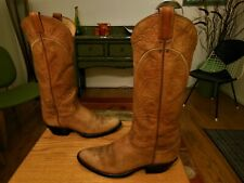 Vtg TONY LAMA Men's Golden Tan Leather Western Boots 9D Black Label  Made in USA