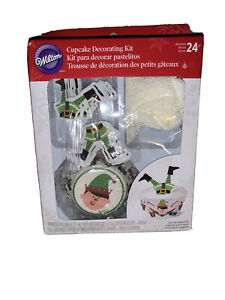 WILTON/ ELF CUPCAKE DECORATING KIT WITH 24 CUPS AND PICKS - NEW