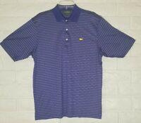 Amen Corner Masters Blue Striped Medium Golf Polo Shirt 100% Pima Cotton Mens