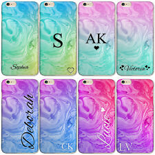 PERSONALISED INITIALS PHONE CASE MARBLE SWIRL APPLE IPHONE 7/8/X CASE HARD COVER