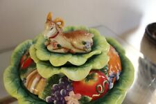 Fitz & Floyd Classics Country Chic Covered Vegetable Bowl Casserole w/ Ram Goat
