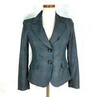 Caslon Womens Petite Blue/Grey Glen Check Poly, Rayon & Spandex Blazer Jacket 4P