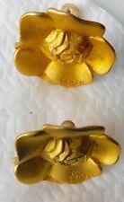KENZO - Boucles d'oreilles dorées - CLIPS signées - Earrings signed - COLLECTOR