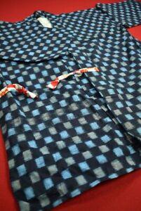 Vintage Japanese Kimono Cotton Antique Boro NORAGI Indigo Blue KASURI/EY14/350
