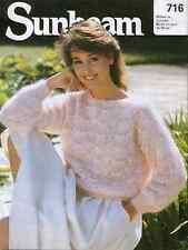 "Knitting pattern Ladies Girl Scallop Jumper Sweater 4mm needles 34""-36"" Vintage"