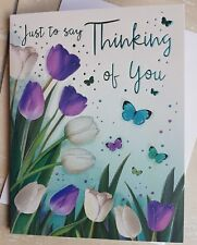 Thinking Of You Card With Embossed With Tulips And Butterflies