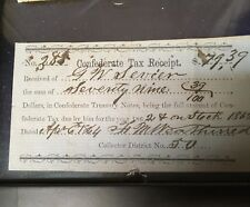 South Carolina court document and a Confederate Tax receipt 1864 Charleston SC