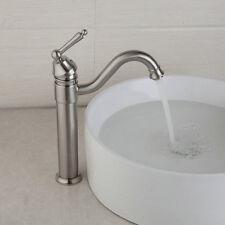 Single Handle Brushed Nickel Bathroom Basin Sink Faucet Deck Mounted Mixer Taps