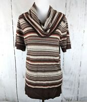 Women's OUTBACK RED Short Sleeve Cowl Neck Striped Sweater Brown Large L Wool