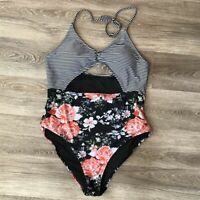Cupshe Womens Floral Striped Halter One Piece Swimsuit Cut Out Bathing Suit XXL
