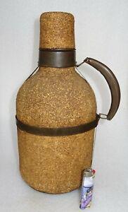 ancienne grosse bombonne thermos en verre et liège