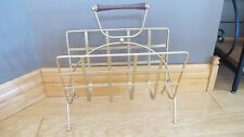Vintage Magazine Record Rack Stand Gold Tone Wood Handle Repainted