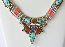 Tibetan Neckalce Turquoise Coral Tibetan Silver Handmade Ethnic Vintage Exclusiv