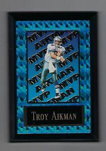 """Vintage 1994-1995 6.5"""" x 4.5"""" Card Plaque Troy Aikman Dallas Cowboys MVP #2"""