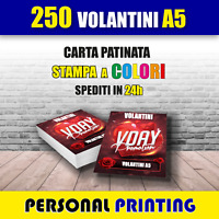 250 VOLANTINI A5 ( 15 X 21 cm ) A COLORI STAMPA HD QUALITY CARTA 130 gr FLYERS