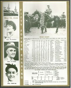 1928 - REIGH COUNT - Kentucky Derby WC, Race Chart, Jockey, Trainer & Owner