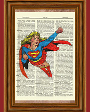 Super Girl Dictionary Art Poster Picture Comic Book Marvel DC Superhero Gift