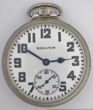 Nice Vintage Hamilton 974 16s 17J Mens White Gold Filled Pocket Watch