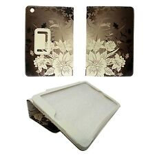 CASE FOR APPLE IPAD 2 IPAD 3 IPAD 4 BROWN WHITE FLOWER PU LEATHER COVER