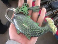 Rare Chinese style Brass Carved BIG fish lock/2keys