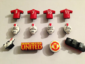10x Manchester United Shoe Lace Charms Football Party bag fillers not Croc tags