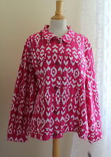 NWT Diane Gilman Sz 3X Pink White Elegant Ikat Print Art-to-Wear Jacket SOLD OUT