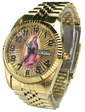 Reloj De Hombre Swanson Japan Watch Men's Day-Date Con La Virgen de Guadalupe