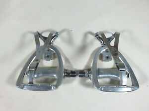 Nice ~ Campagnolo Road Vintage 80s Triomphe Pedals 9/16 + Campy Toe Clips