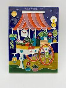 Creazioni Luciano Handpainted Ceramic Tile Italy Vintage Garden Cart Bottles